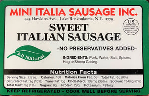 Sausage PORK Sweet Italian NO FENNEL Links- 2lb Pack
