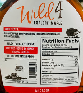 Syrup Wild 4 Organic CINNAMON VANILLA MAPLE SYRUP 12oz Bottle