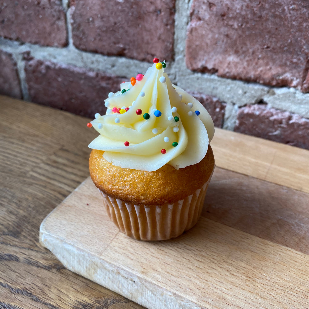 Vanilla Cupcake with Colourful Sprinkles