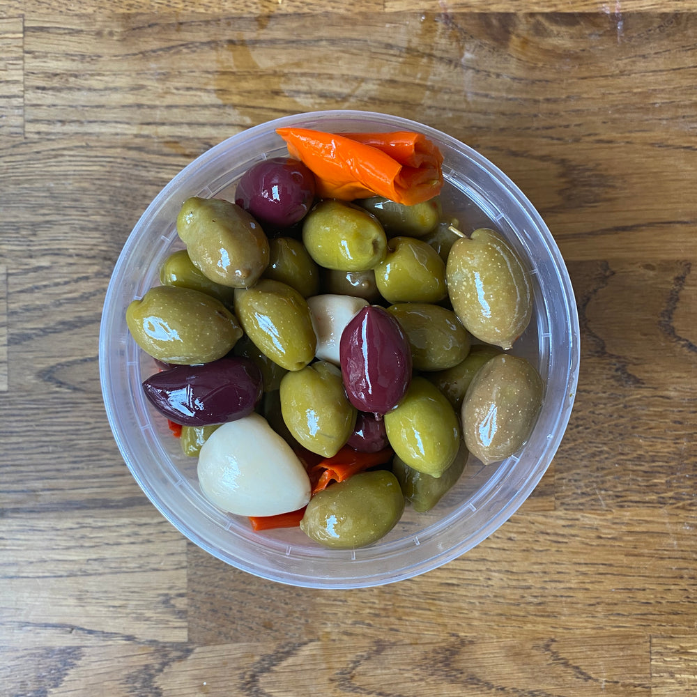 Mixed Olives With Hot Peppers and Garlic- Bulk