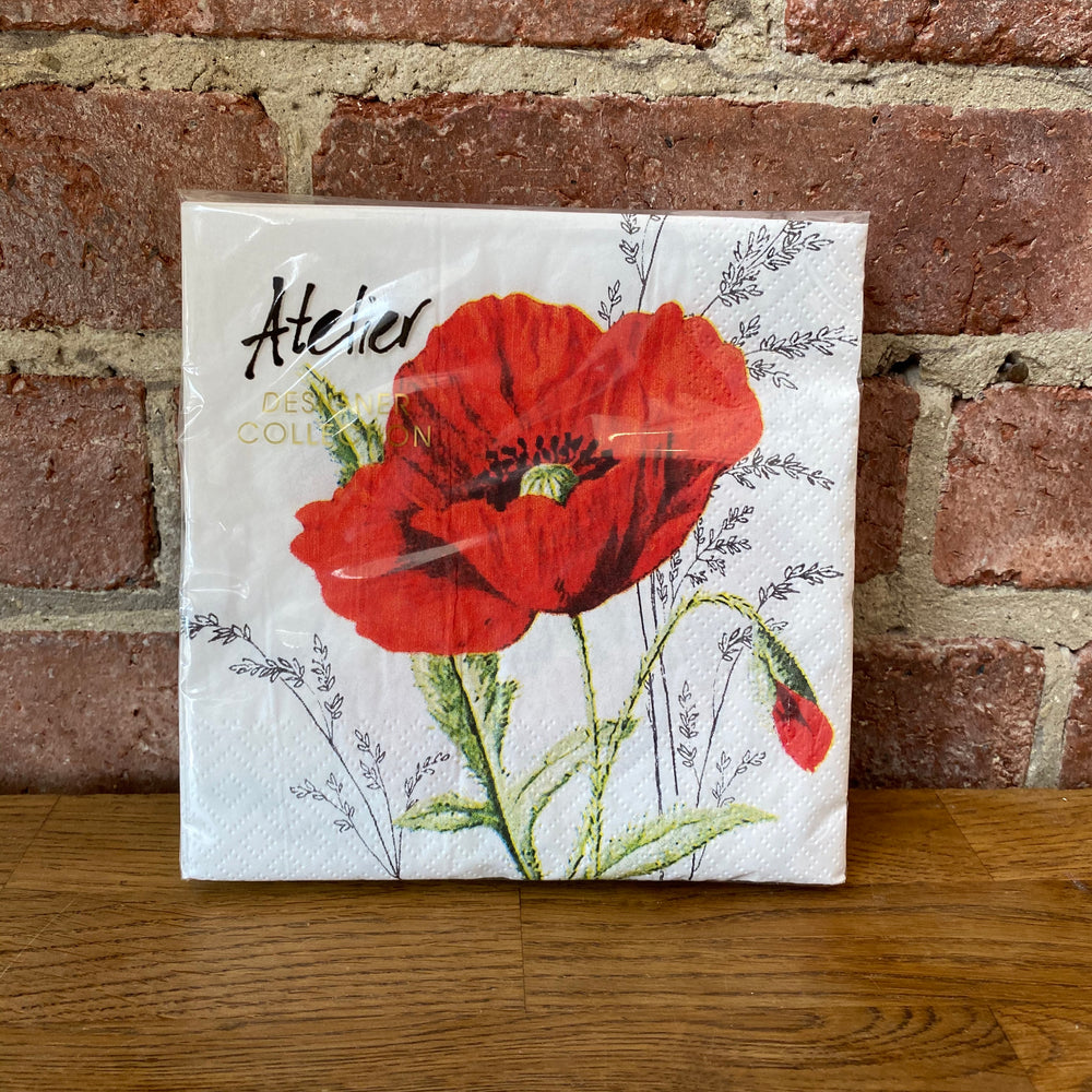 Red Flower Design - 20 Napkins