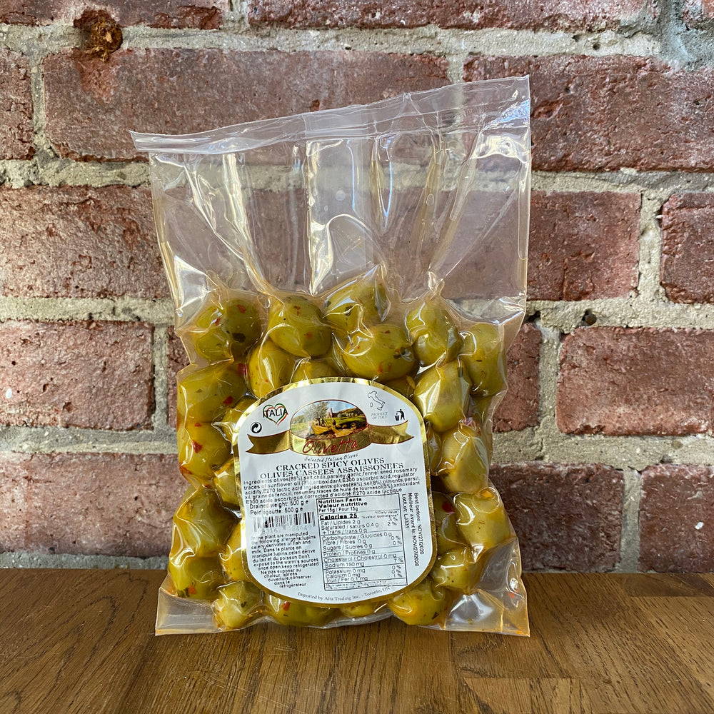 Cracked Spicy Olives - 500g