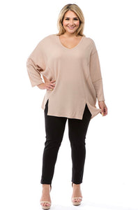 Plus Size Sleeve Waffle Piko Top