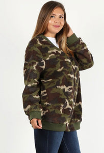Plus Size Camouflage Jacket