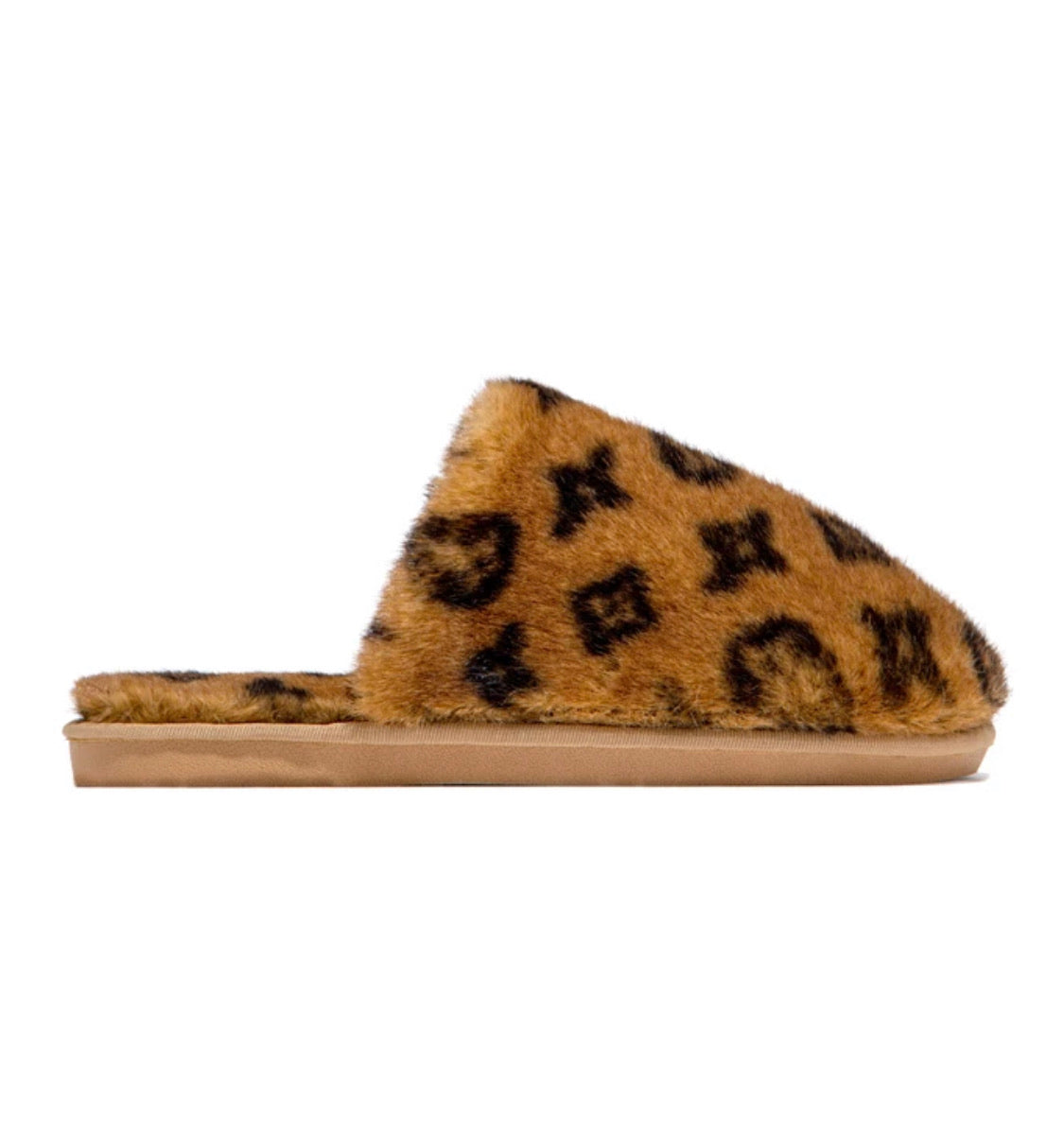 Inspired fluffy slides brown