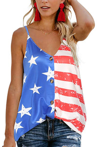 4th of July V Neck Scrappy Tank Top