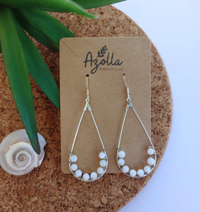 Spearmint Neck Band and Mother of Pearl Teardrop Earrings