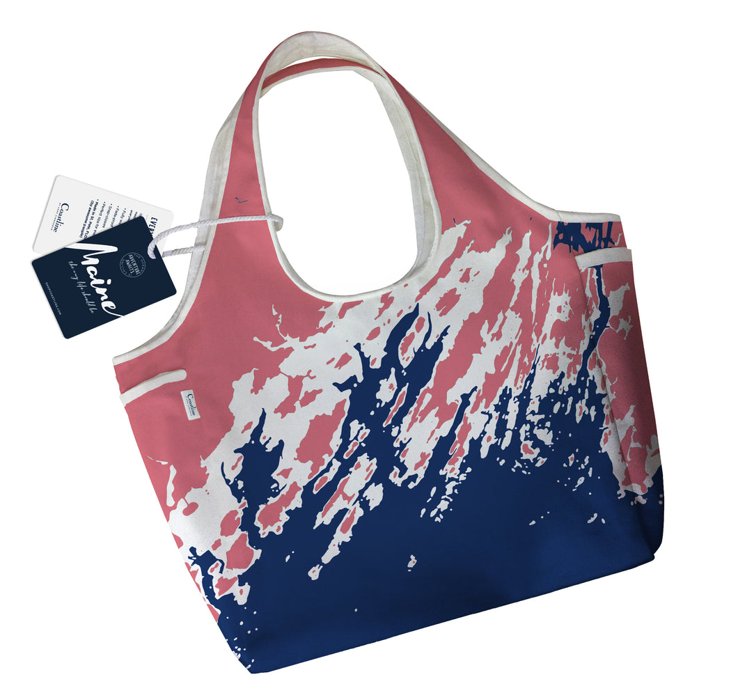 NEW Maine Coast Boho Tote, Casco Bay, Red