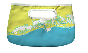 Gulf Coast Happy Hour Clutch, Yellow & Aqua