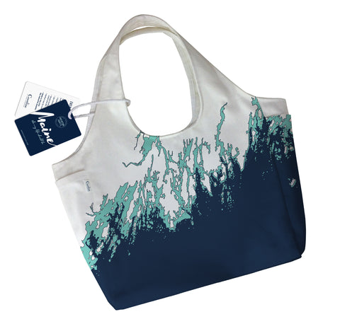 NEW Maine Coast Boho Tote, Navy + Aqua