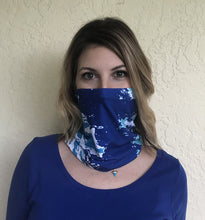 Load image into Gallery viewer, NEW Coastline Multi-Way Mini Infinity Scarf, Navy Blue + Aqua
