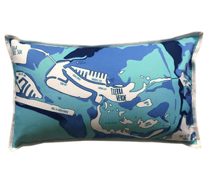 Tierra Verde 12x20 or 36x14 Pillow, Navy & Aqua