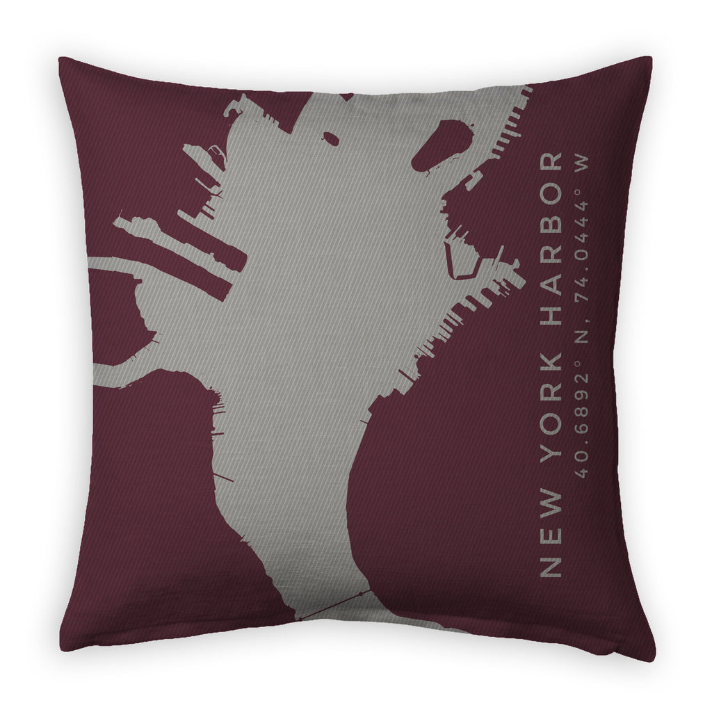 NY I: New York Harbor, Brooklyn Decorative Throw Pillow ~ Marsala/Steel