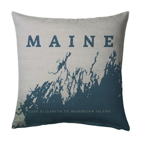 Maince Coast Pillow: Cape Elizabeth to Monhegan, Marine + Steel