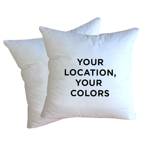 Set of Custom Indoor/Outdoor Pillows, Choose Your Color Palette + Location