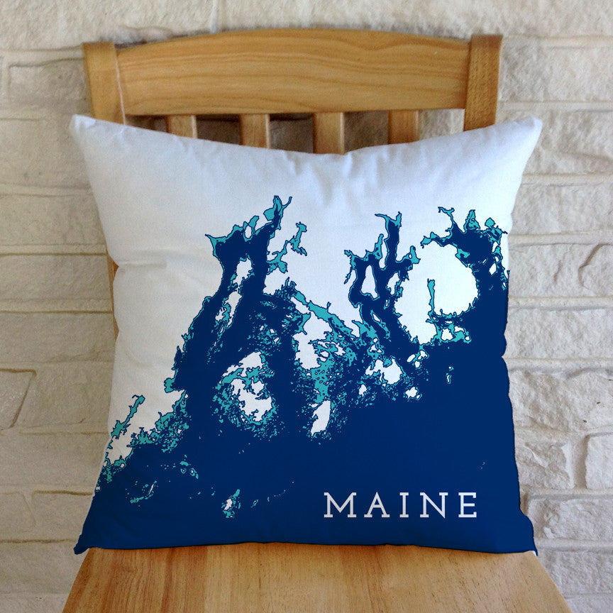 Maine Coast Pillow: Penobscot Bay to Frenchman Bay, Navy/Aqua/White