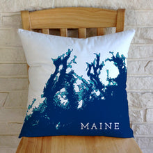 Load image into Gallery viewer, Maine Coast Pillow: Penobscot Bay to Frenchman Bay, Navy/Aqua/White