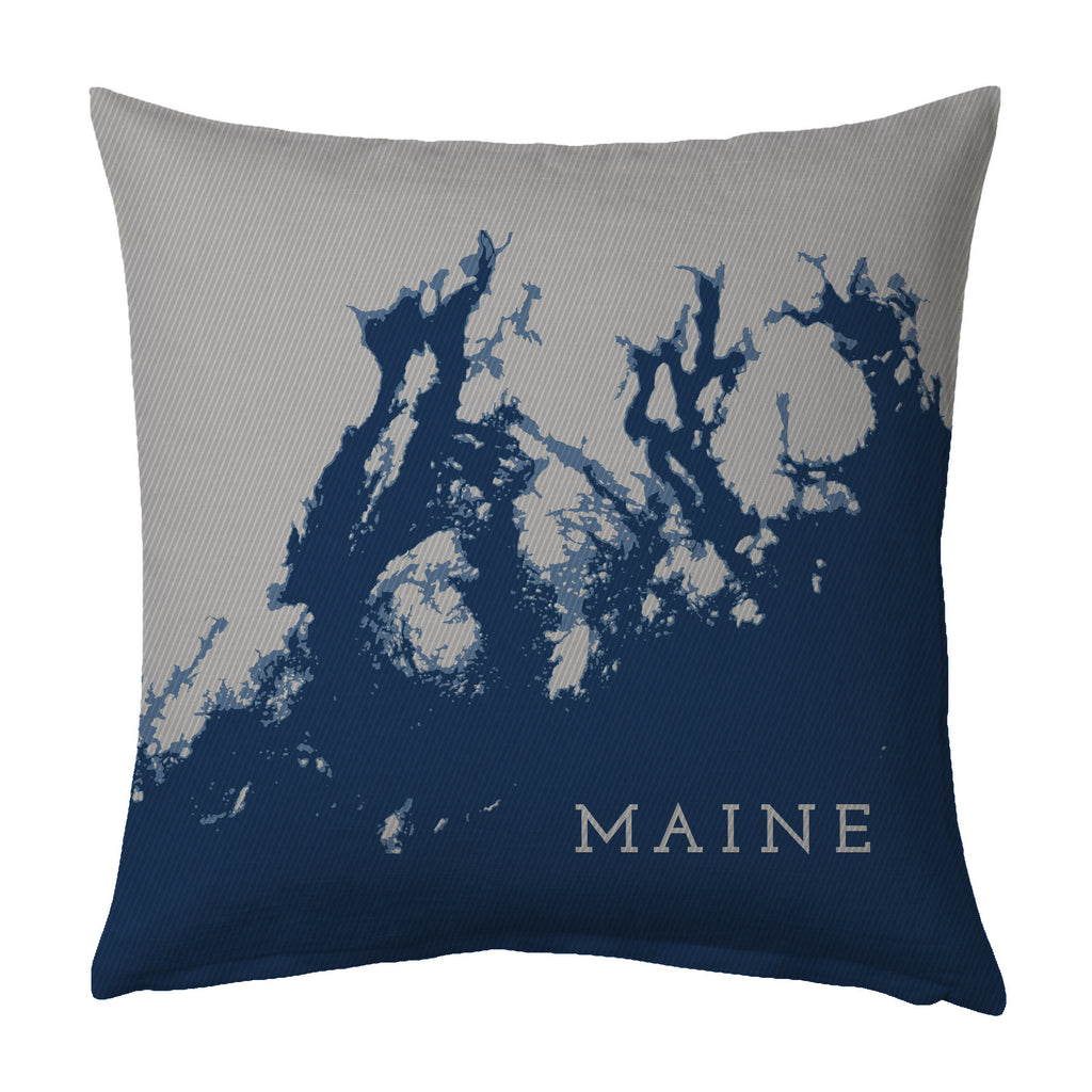 Maine Coast Pillow: Penobscot Bay to Frenchman Bay, Navy + Steel