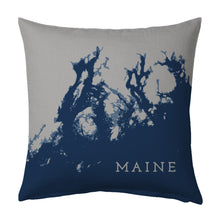 Load image into Gallery viewer, Maine Coast Pillow: Penobscot Bay to Frenchman Bay, Navy + Steel