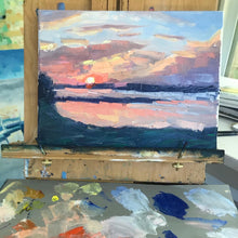 Load image into Gallery viewer, Pink Sunset with Palette Knife 12x9, August 3, 2020