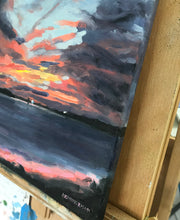 "Load image into Gallery viewer, Fire in the Sky at Sunset, 14""X11"""