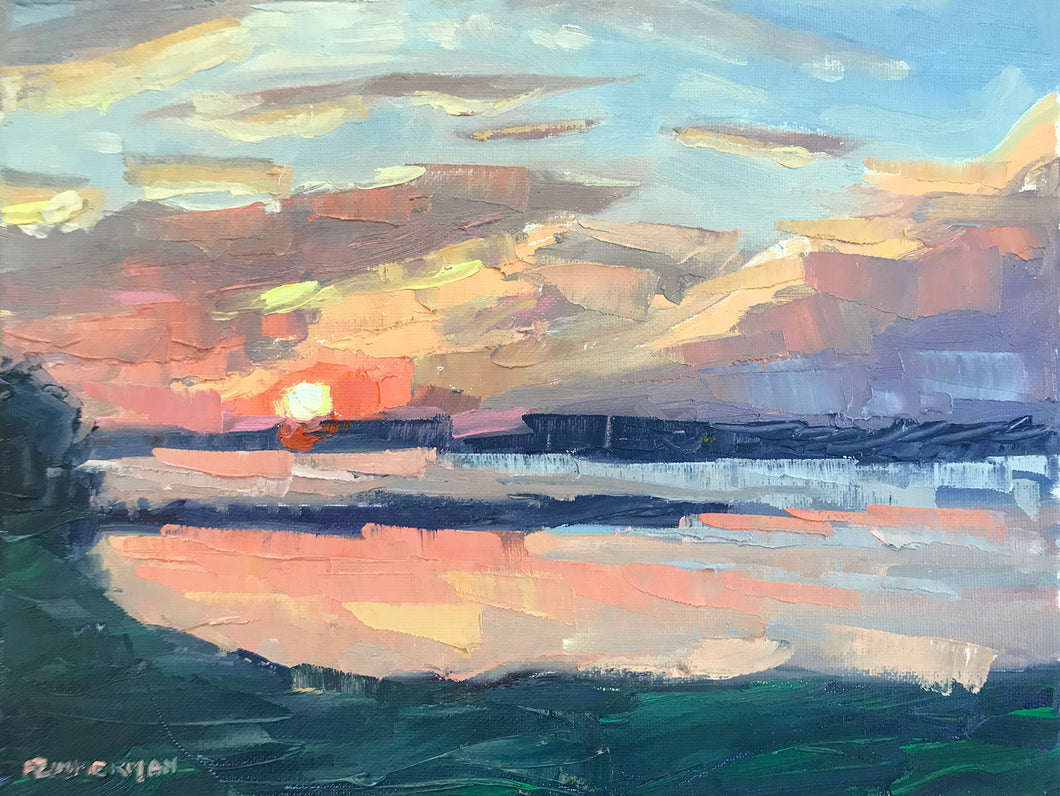 Pink Sunset with Palette Knife 12x9, August 3, 2020