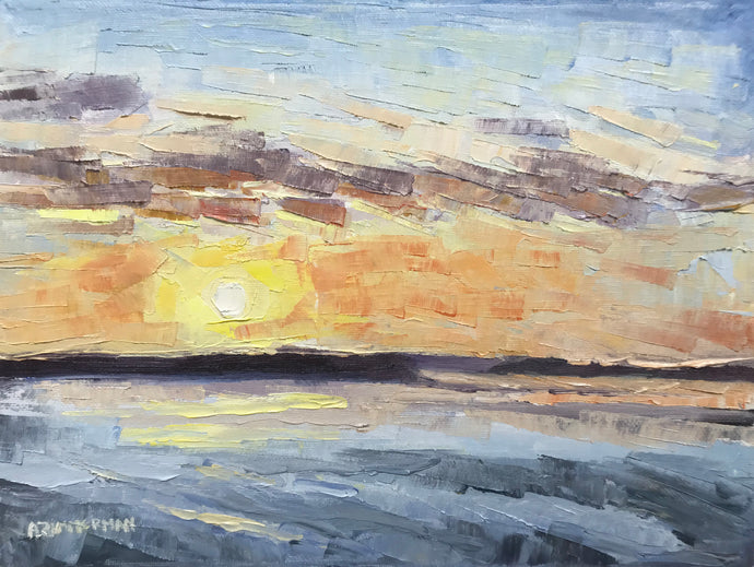 Yellow Sunset with Palette Knife 12x9, August 2, 2020