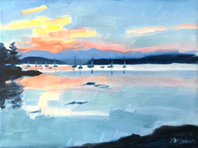 Sunrise Over the Marina Color Study 12x9