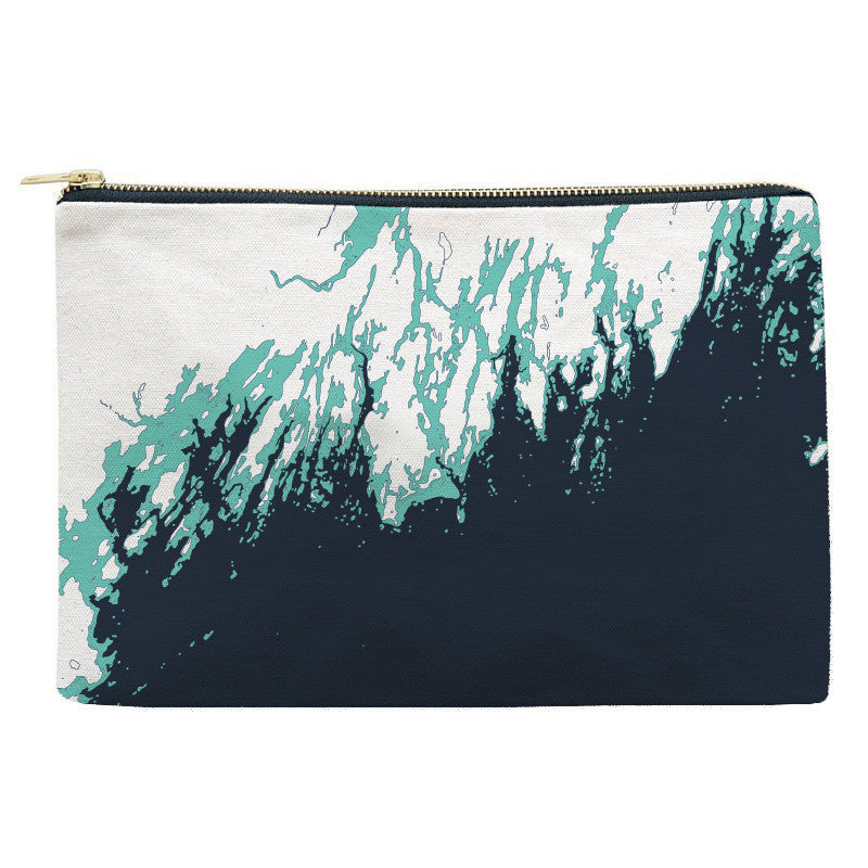 Maine Coast Zippered Pouch, Faded Turquoise and Indigo