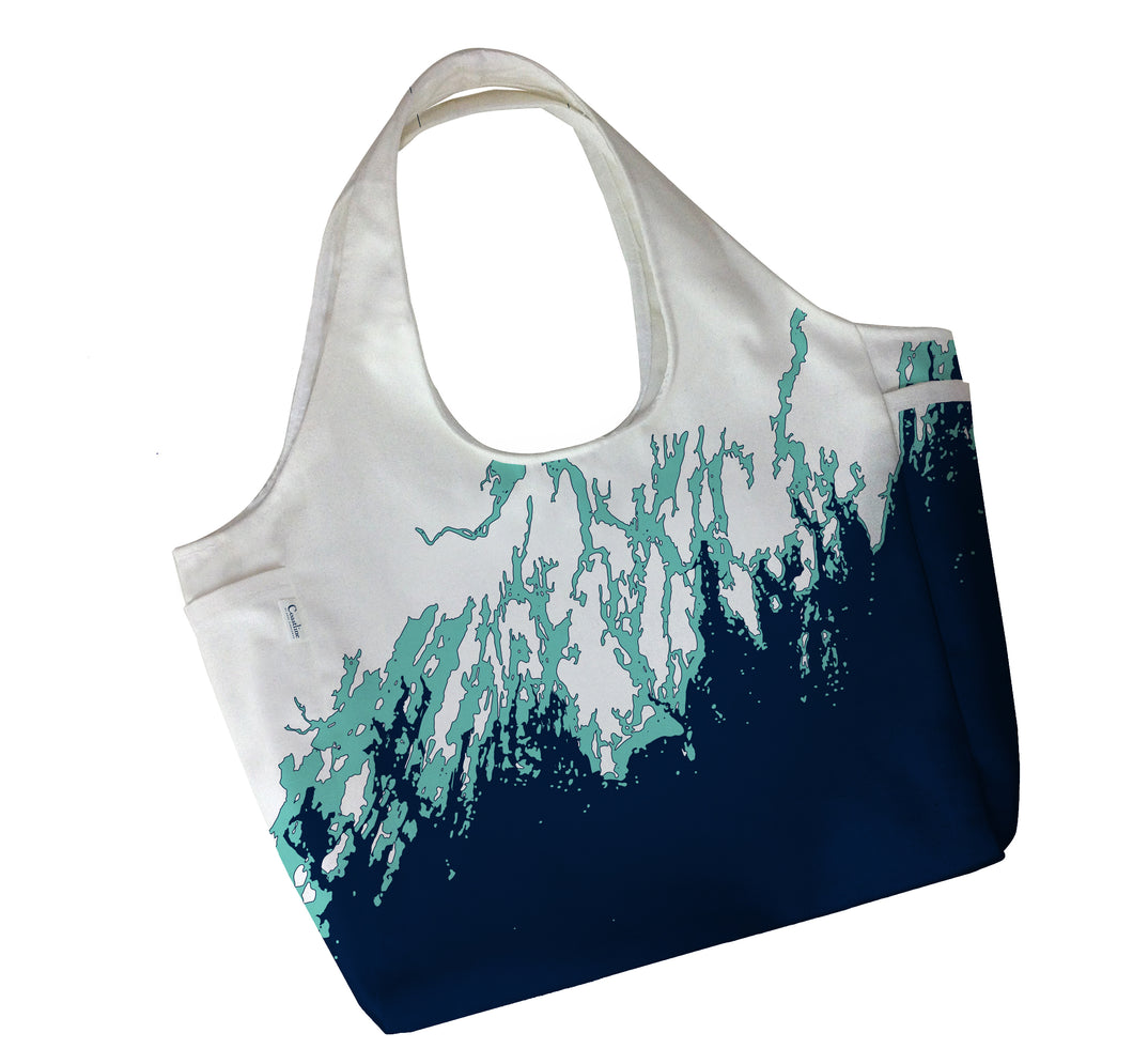 Maine Coast Boho Tote, Navy and Aqua