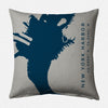 NY I: New York Harbor, Brooklyn Decorative Throw Pillow ~ Navy/Steel
