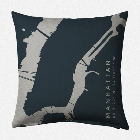 New York Harbor II: Manhattan Decorative Throw Pillow ~ Charcoal/Steel