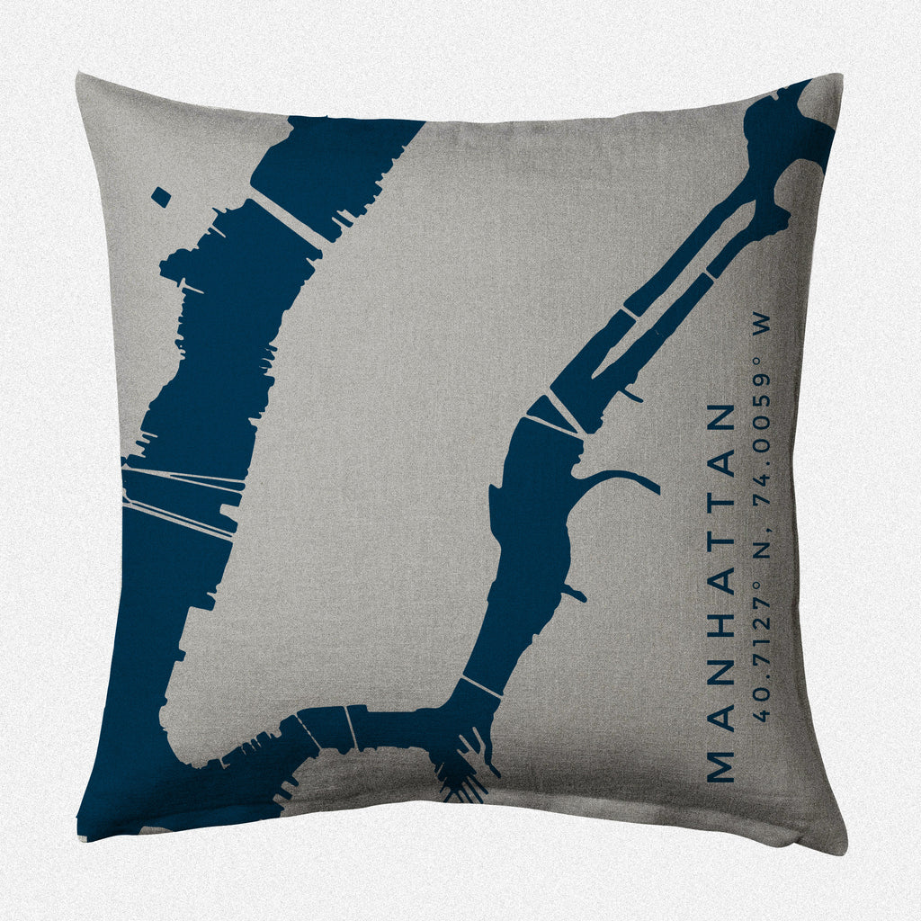 New York Harbor II: Manhattan Decorative Throw Pillow ~ Navy/Steel