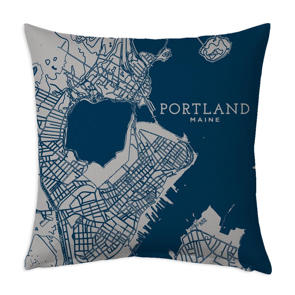 "Portland Maine Pillow, ""The Peninsula,"" Decorative Throw Pillow, Navy and Steel"