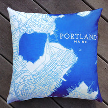 "Load image into Gallery viewer, Portland Maine Pillow, ""The Peninsula"" Decorative Throw Pillow ~ Blue"