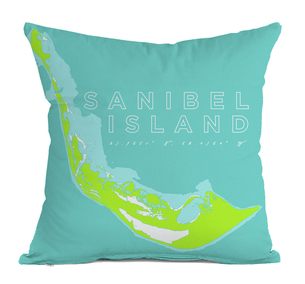 Sanibel Island Indoor/Outdoor Decorative Throw Pillow, Aqua & Spring Green