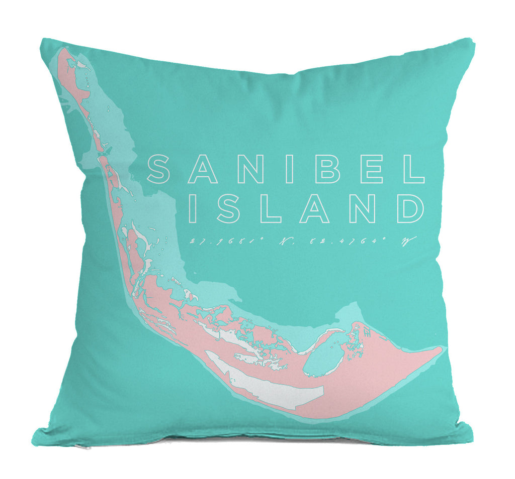 Sanibel Island Indoor/Outdoor Decorative Throw Pillow, Pink & Aqua