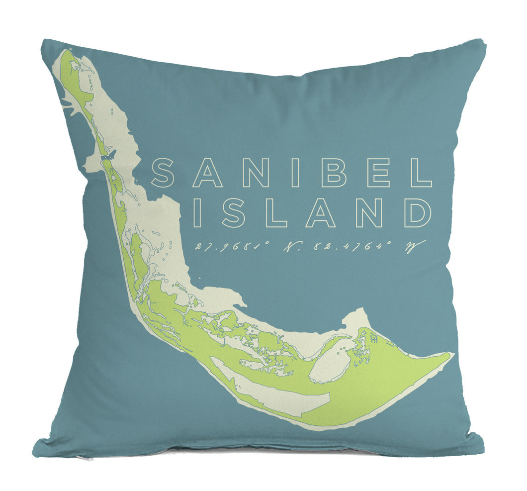 Sanibel Island Indoor/Outdoor Decorative Throw Pillow, Faded Aqua & Spring Green