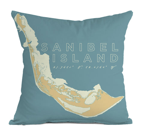 Sanibel Island Decorative Throw Pillow, Faded Aqua & Papaya
