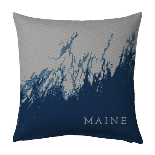 Southern/Midcoast Maine Decorative Indoor Throw Pillow, Navy + Steel