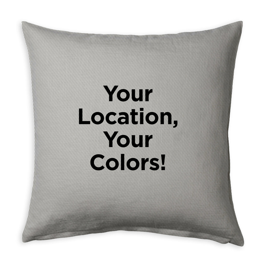 Custom Indoor Twill/Faux Suede Coastline Pillow, Choose Your Color Palette + Location