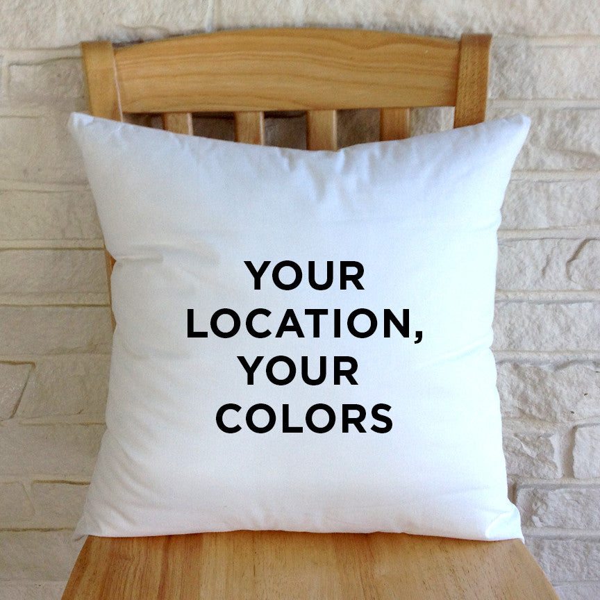 Custom Indoor/Outdoor Pillow, Choose Your Color Palette + Location