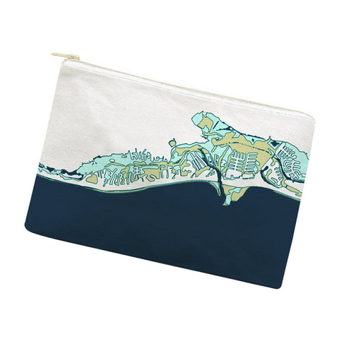 Weekend-Away Zip Pouch, Navy + Teak