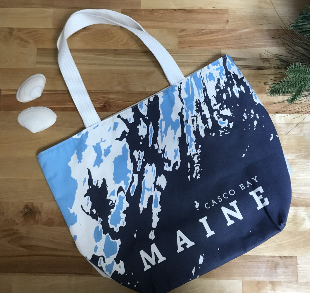 ONE-OF-A-KIND Open Sailor's Tote, Casco Bay Maine, Blue