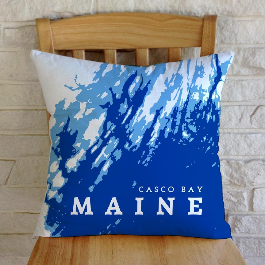 Casco Bay Maine Throw Pillow Plus Insert Or Pillow Cover Only Coastline By Anne Zimmerman