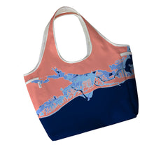 Load image into Gallery viewer, Gulf Coast Boho Tote, Coral & Blue