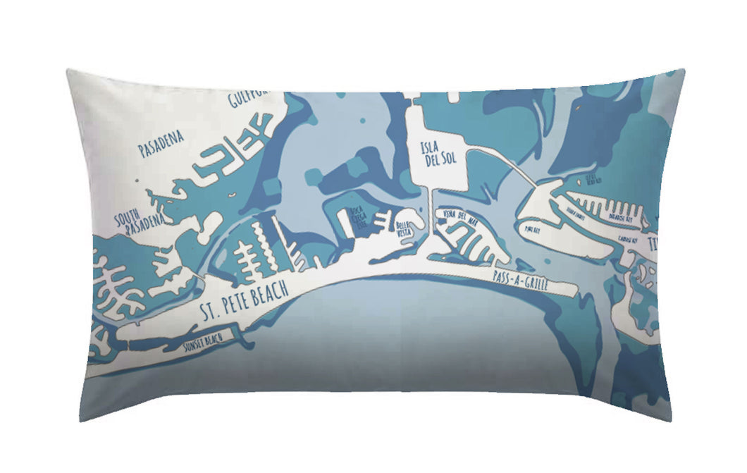 Pass-A-Grille 12x20 Pillow, Faded Aqua