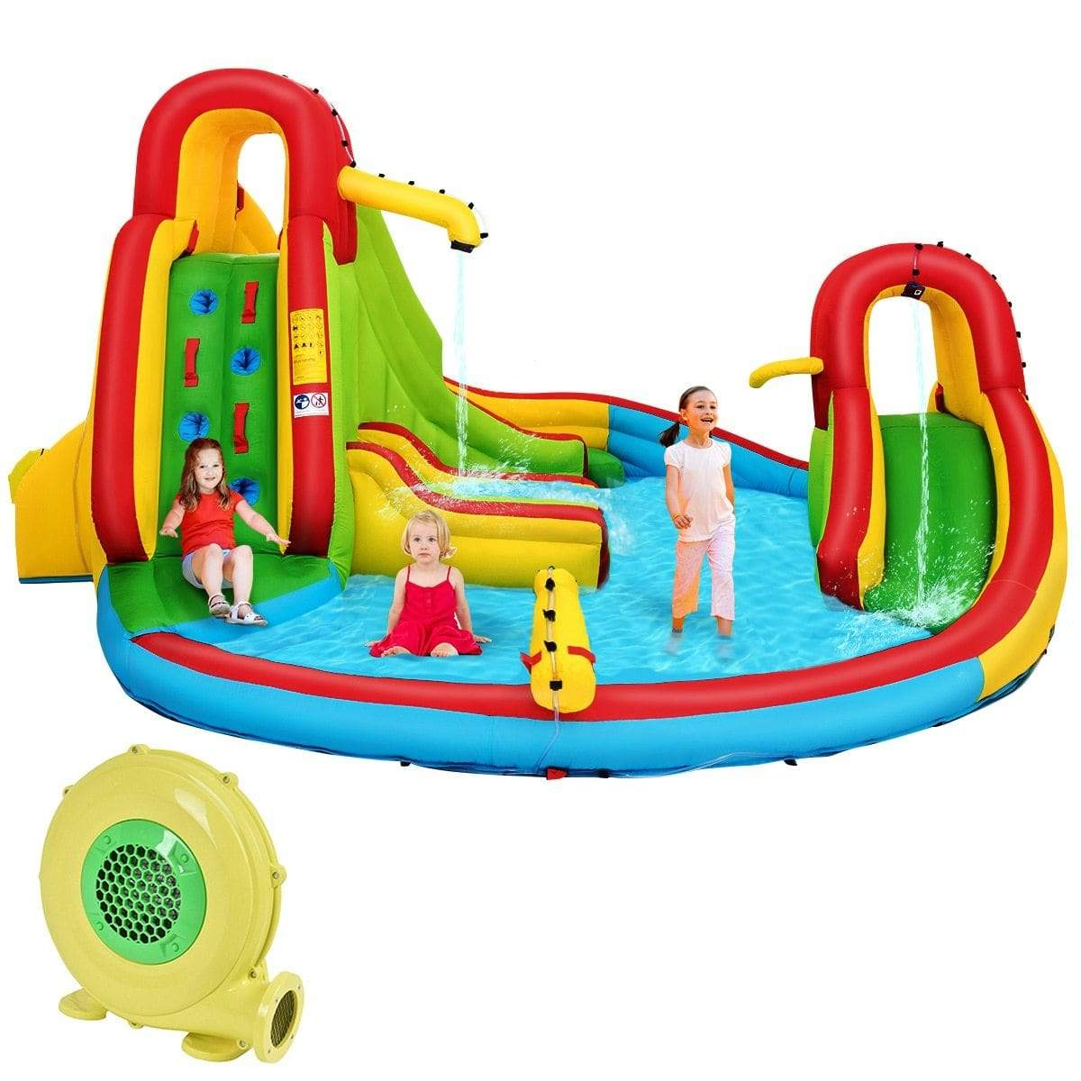eprolo Kids Inflatable Water Slide Bounce Park Splash Pool w/Water Cannon & 680W Blower