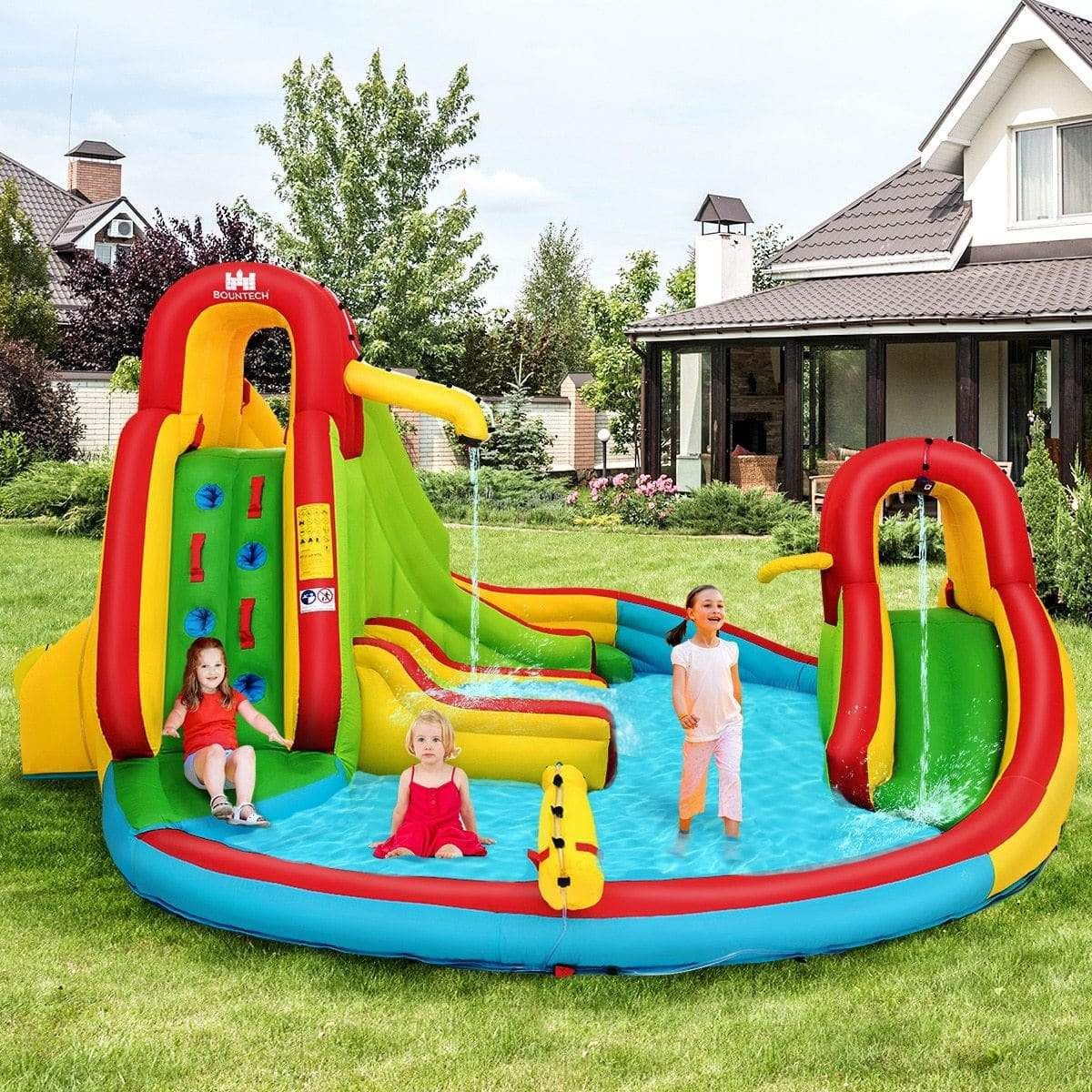 Kids Inflatable Water Slide Bounce Park Splash Pool w/Water Cannon & 680W Blower