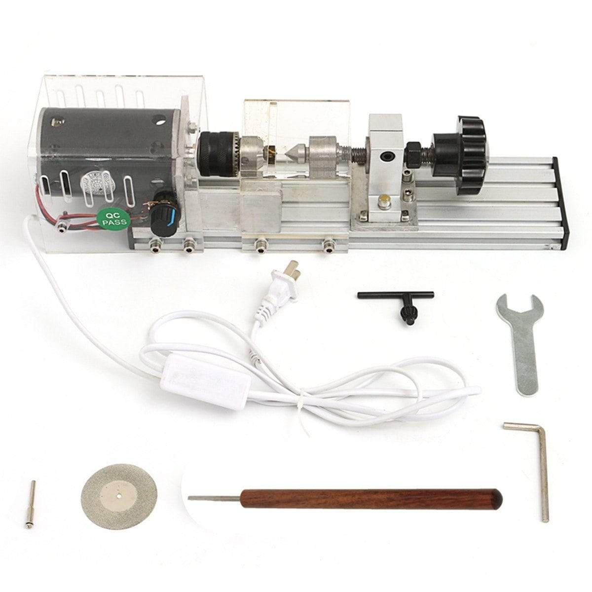 Horizon Care 350W Mini Lathe Machine Woodworking DIY Set with Power Adapter